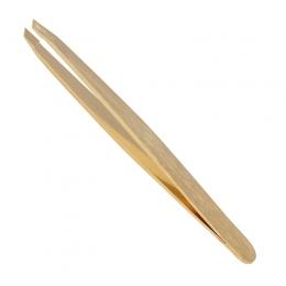 Пинцет широкий скошенный золото 9 см